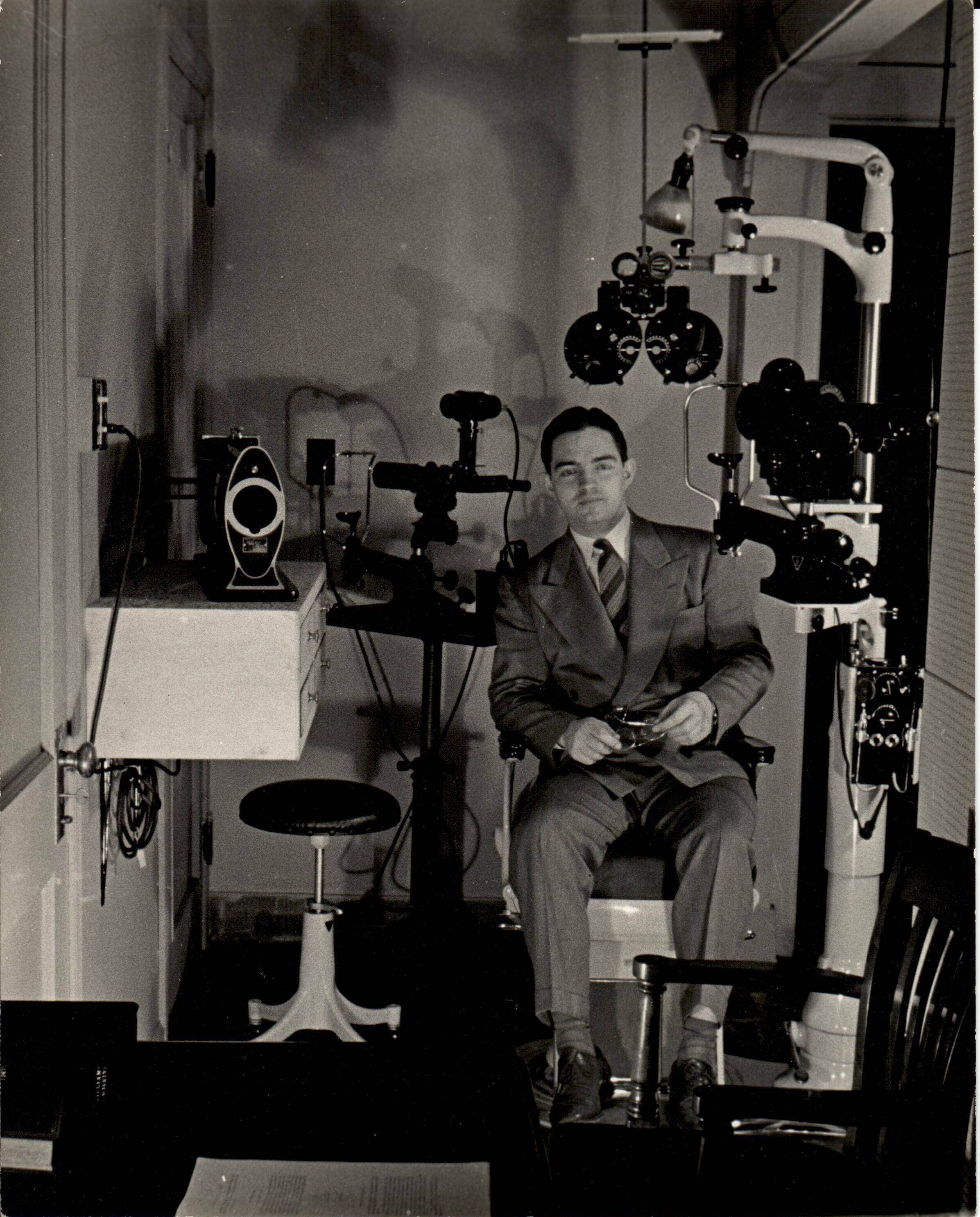 Dr. Robert A. Hass in his exam room, 1947